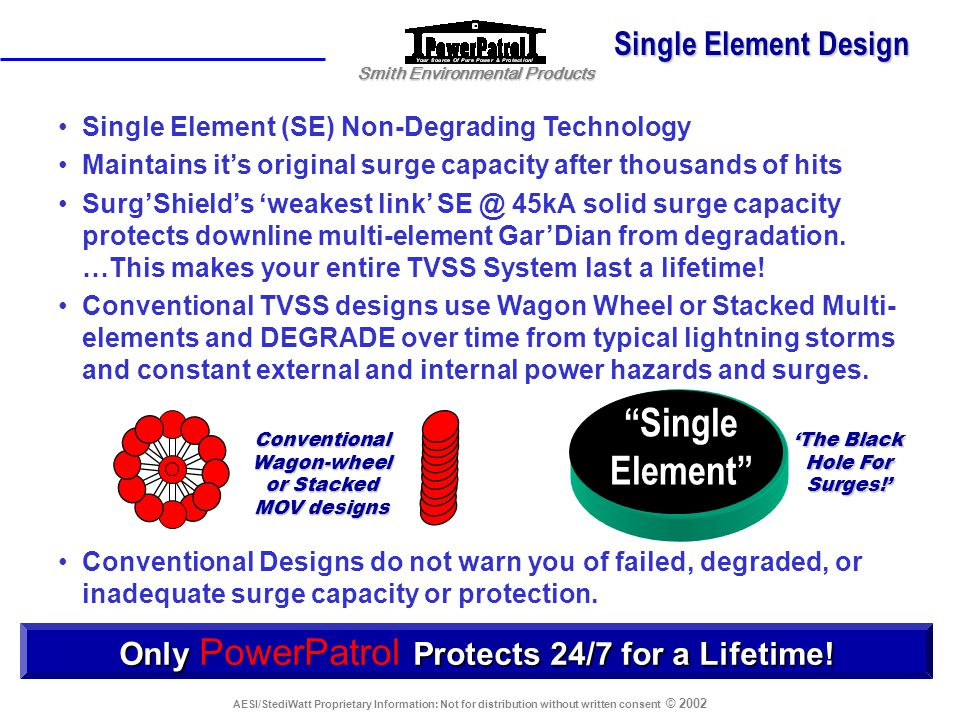 Smith Environmental Products AESI/StediWatt Proprietary Information: Not for distribution without written consent © 2002 The 45,000 Amp Surg'Shield Se