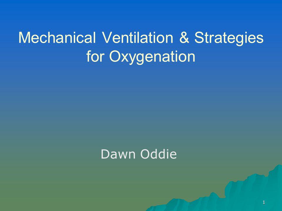 1 Mechanical Ventilation & Strategies for Oxygenation Dawn Oddie