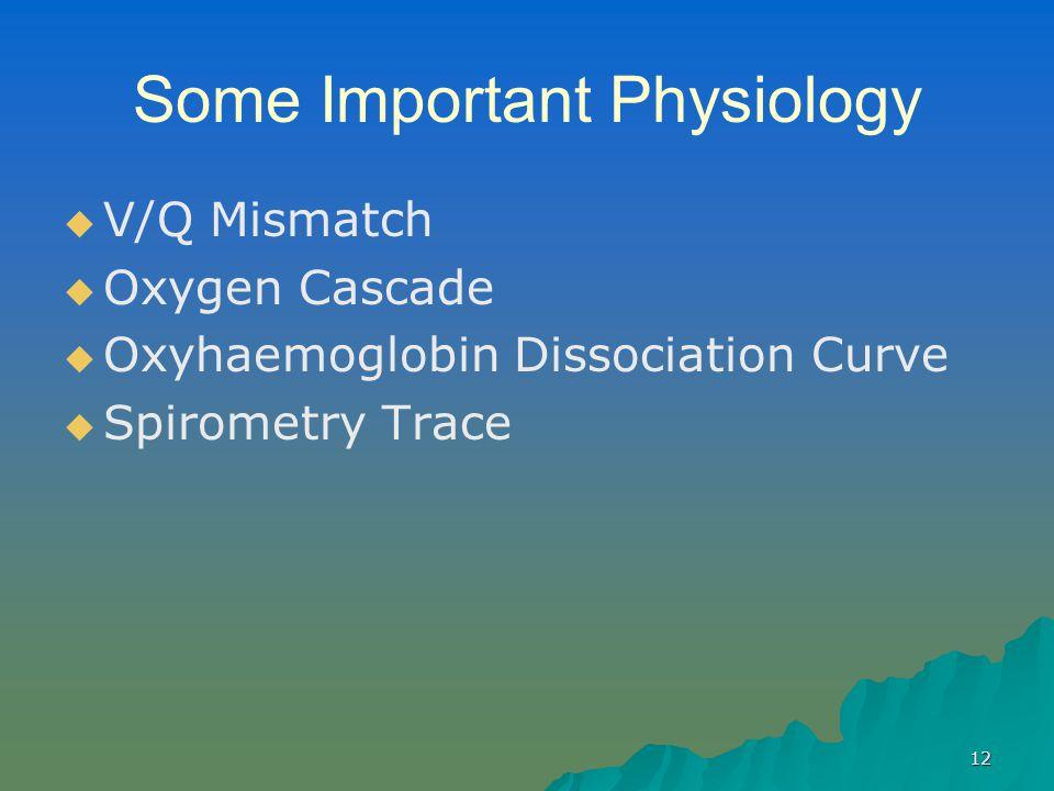 12 Some Important Physiology   V/Q Mismatch   Oxygen Cascade   Oxyhaemoglobin Dissociation Curve   Spirometry Trace