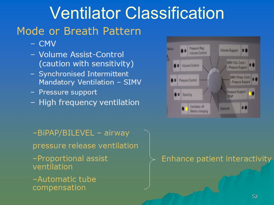 52 Ventilator Classification Mode or Breath Pattern – –CMV – –Volume Assist-Control (caution with sensitivity) – –Synchronised Intermittent Mandatory