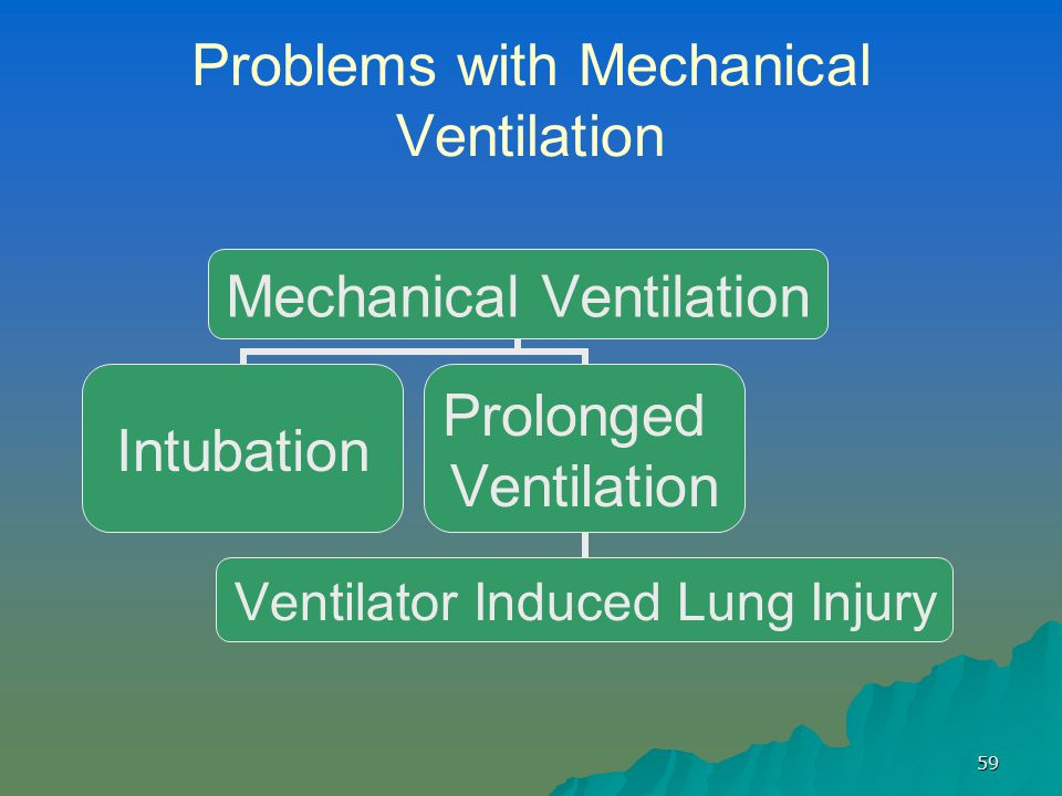 59 Problems with Mechanical Ventilation Mechanical Ventilation Intubation Prolonged Ventilation Ventilator Induced Lung Injury