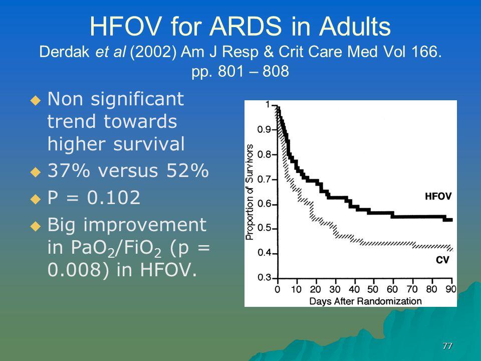 77 HFOV for ARDS in Adults Derdak et al (2002) Am J Resp & Crit Care Med Vol 166.