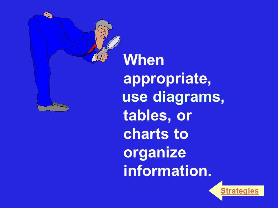 When appropriate, use diagrams, tables, or charts to organize information. Strategies use diagrams,