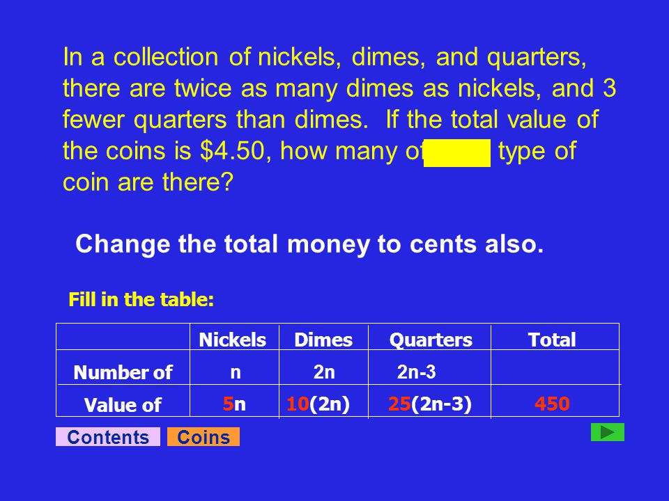 In a collection of nickels, dimes, and quarters, there are twice as many dimes as nickels, and 3 fewer quarters than dimes.