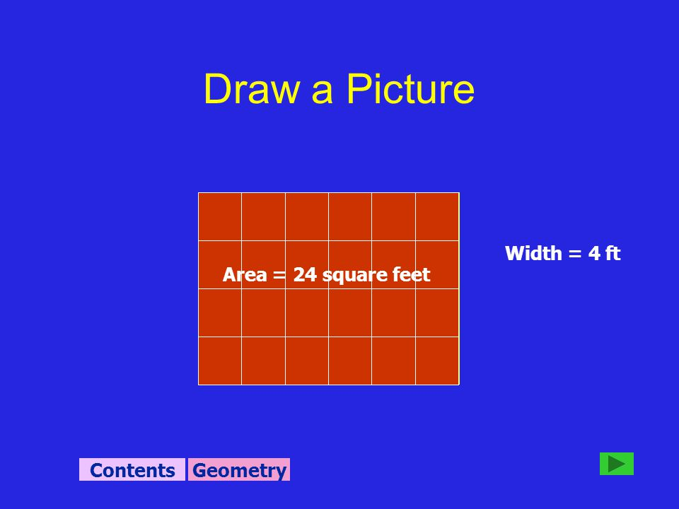 Width = 4 ft Area = 24 square feet GeometryContents Draw a Picture