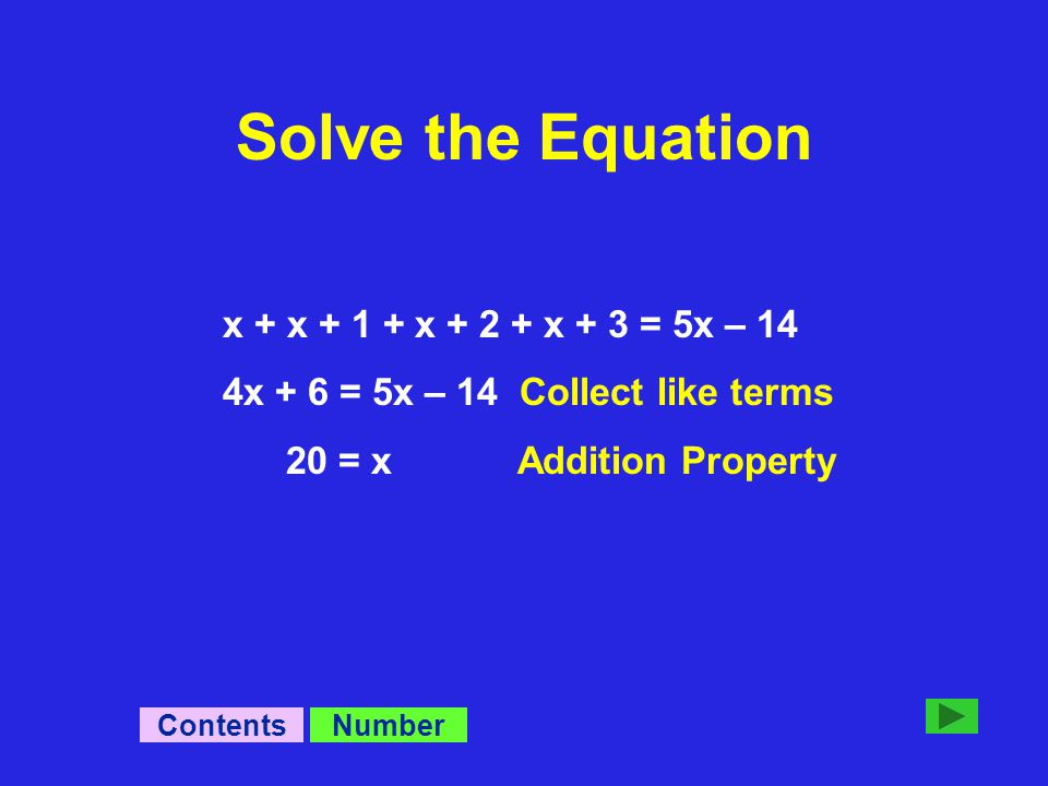 x + x + 1 + x + 2 + x + 3 = 5x – 14 4x + 6 = 5x – 14 Collect like terms 20 = x Addition Property NumberContents Solve the Equation