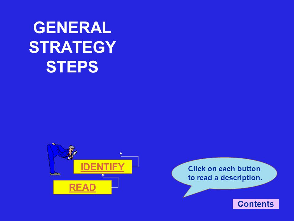 READ Click on each button to read a description. IDENTIFY Contents GENERAL STRATEGY STEPS