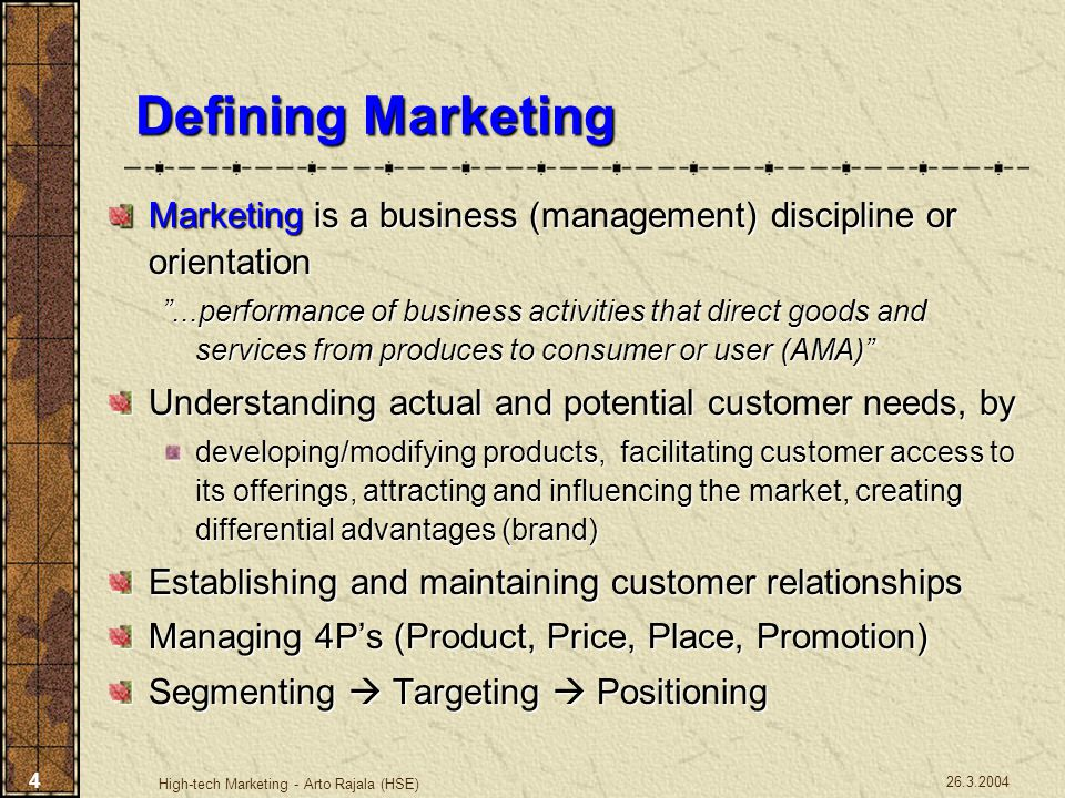 26.3.2004 High-tech Marketing - Arto Rajala (HSE) 5 Mass Marketing Same product to all consumers (no segmentation, i.e Coca-Cola) Segment Marketing Different products to one or more segments (some segmentation, i.e.