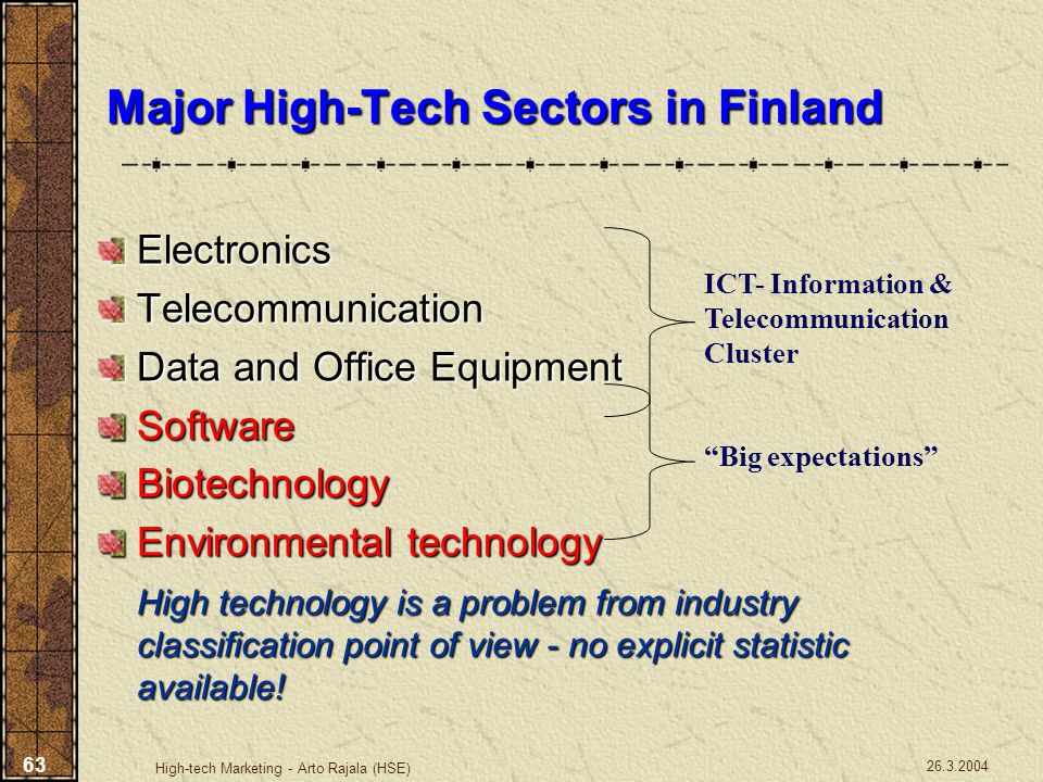 26.3.2004 High-tech Marketing - Arto Rajala (HSE) 63 Major High-Tech Sectors in Finland ElectronicsTelecommunication Data and Office Equipment Softwar