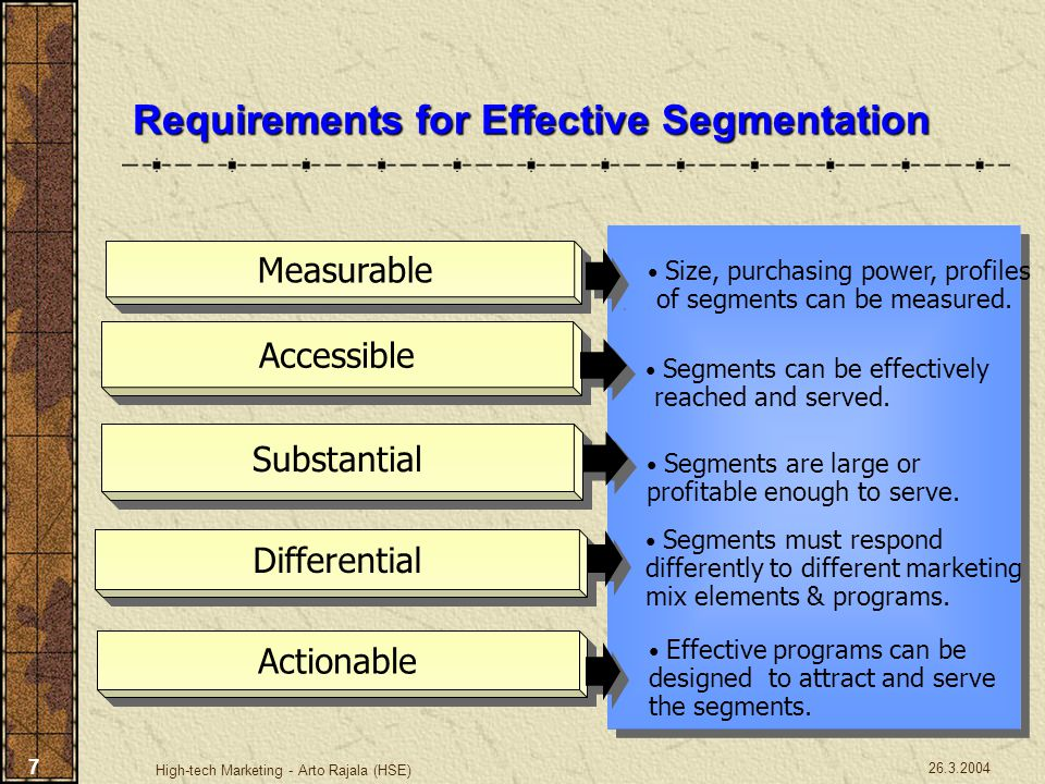 26.3.2004 High-tech Marketing - Arto Rajala (HSE) 7 Requirements for Effective Segmentation Size, purchasing power, profiles of segments can be measur