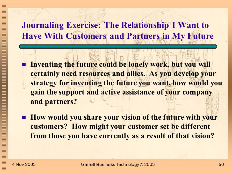 4 Nov 2003Garrett Business Technology © 200349 What Do We Think the Future Holds.