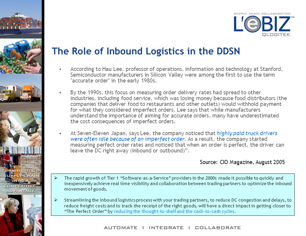 The Role of Inbound Logistics in the DDSN According to Hau Lee, professor of operations, information and technology at Stanford, Semiconductor manufacturers in Silicon Valley were among the first to use the term accurate order in the early 1980s.