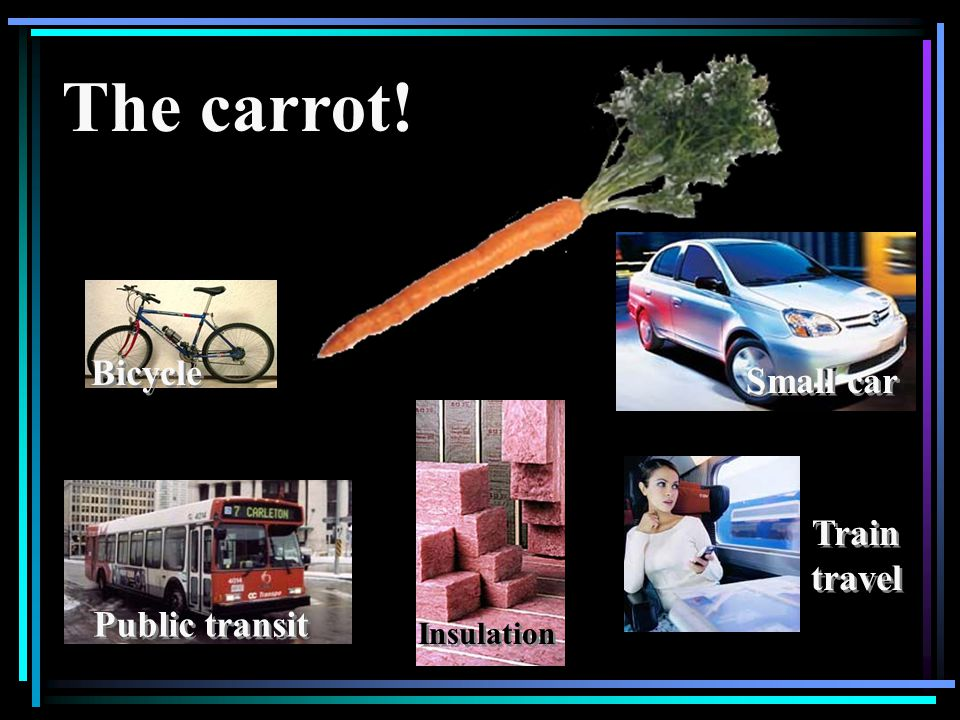 Bicycle Public transit Insulation The carrot! Small car Train travel Train travel