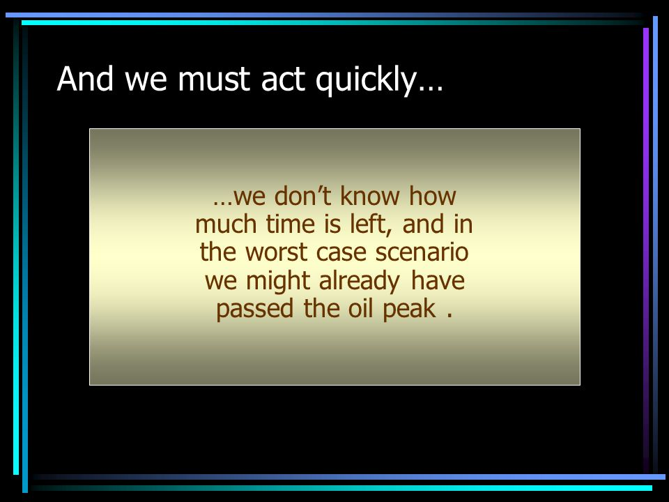 And we must act quickly… …we don't know how much time is left, and in the worst case scenario we might already have passed the oil peak.