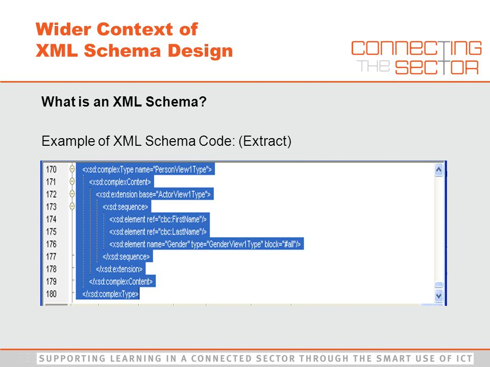 What is an XML Schema Example of XML Schema Code: (Extract) Wider Context of XML Schema Design