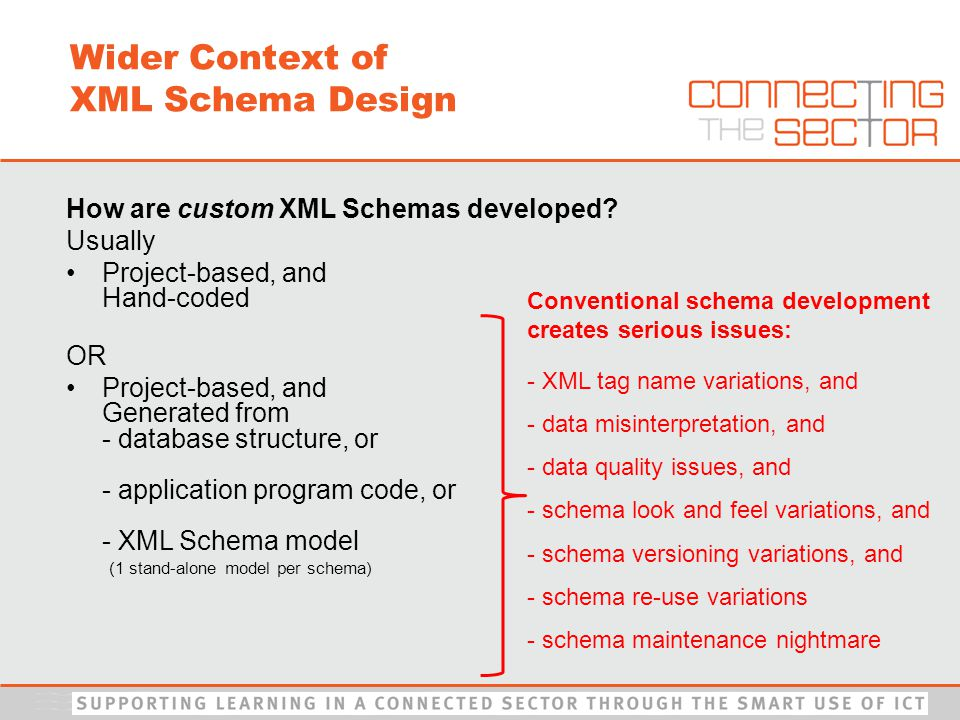 Conventional schema development creates serious issues: - XML tag name variations, and - data misinterpretation, and - data quality issues, and - schema look and feel variations, and - schema versioning variations, and - schema re-use variations - schema maintenance nightmare Wider Context of XML Schema Design How are custom XML Schemas developed.