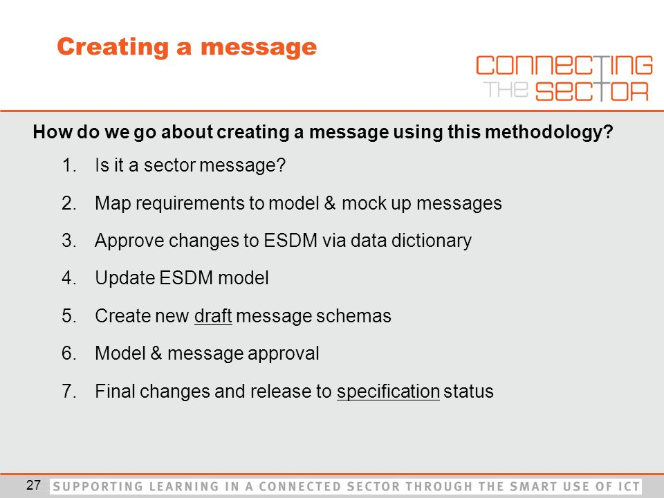 Creating a message How do we go about creating a message using this methodology.