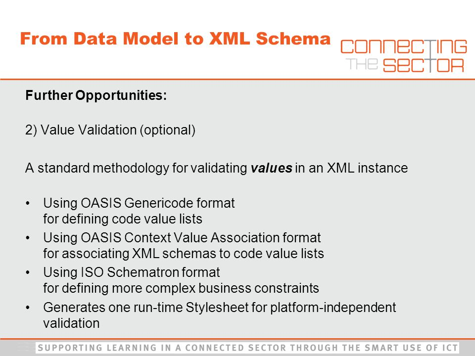 Further Opportunities: 2) Value Validation (optional) A standard methodology for validating values in an XML instance Using OASIS Genericode format for defining code value lists Using OASIS Context Value Association format for associating XML schemas to code value lists Using ISO Schematron format for defining more complex business constraints Generates one run-time Stylesheet for platform-independent validation From Data Model to XML Schema