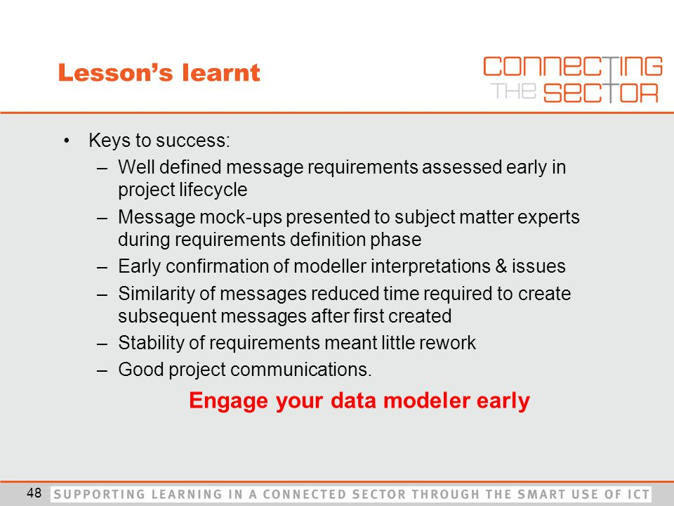 Lesson's learnt Keys to success: –Well defined message requirements assessed early in project lifecycle –Message mock-ups presented to subject matter experts during requirements definition phase –Early confirmation of modeller interpretations & issues –Similarity of messages reduced time required to create subsequent messages after first created –Stability of requirements meant little rework –Good project communications.