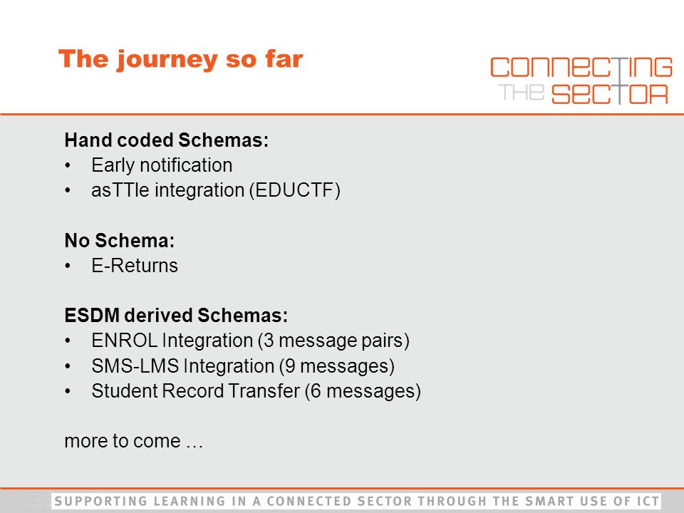 The journey so far Hand coded Schemas: Early notification asTTle integration (EDUCTF) No Schema: E-Returns ESDM derived Schemas: ENROL Integration (3 message pairs) SMS-LMS Integration (9 messages) Student Record Transfer (6 messages) more to come …