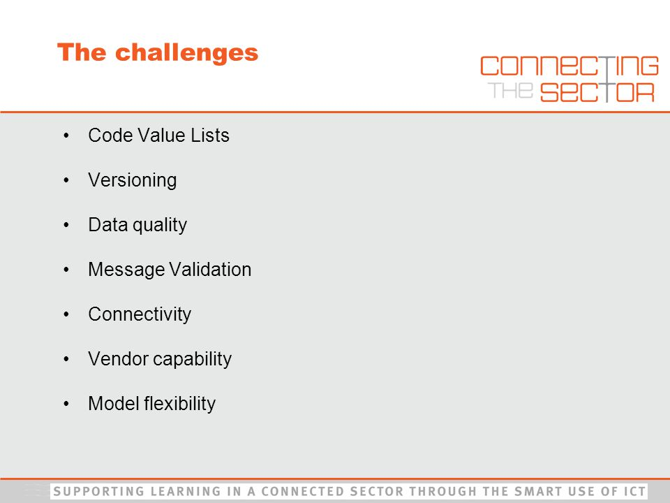 The challenges Code Value Lists Versioning Data quality Message Validation Connectivity Vendor capability Model flexibility