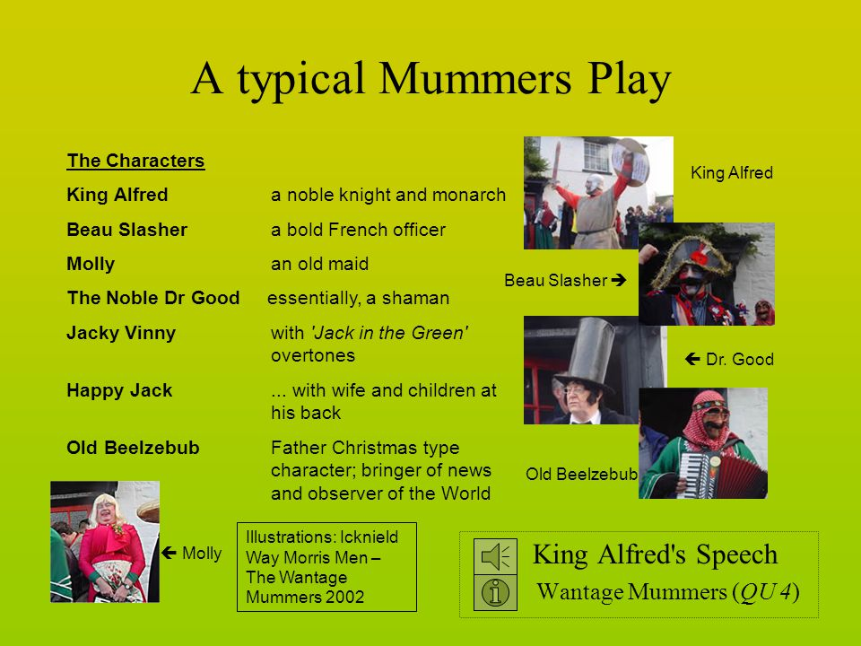 A typical Mummers Play King Alfred s Speech Wantage Mummers (QU 4) The Characters King Alfred a noble knight and monarch Beau Slasher a bold French officer Molly an old maid The Noble Dr Good essentially, a shaman Jacky Vinny with Jack in the Green overtones Happy Jack...