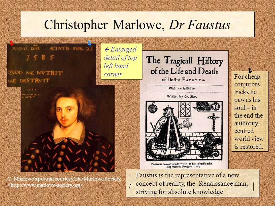 Christopher Marlowe, Dr Faustus  Enlarged detail of top left hand corner  C.