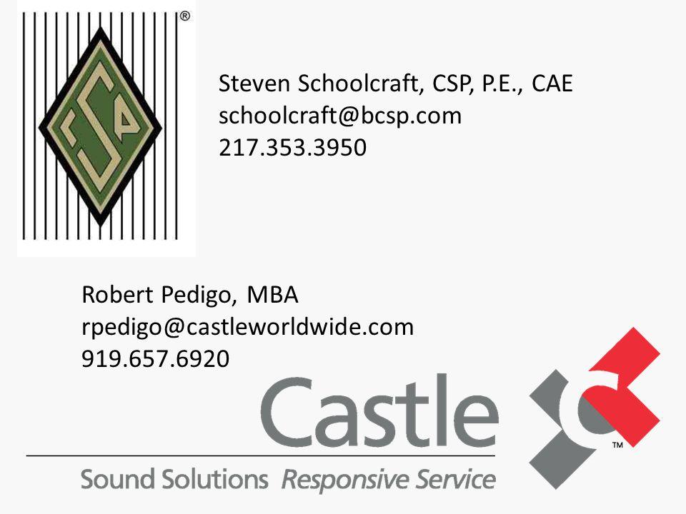 Steven Schoolcraft, CSP, P.E., CAE schoolcraft@bcsp.com 217.353.3950 Robert Pedigo, MBA rpedigo@castleworldwide.com 919.657.6920