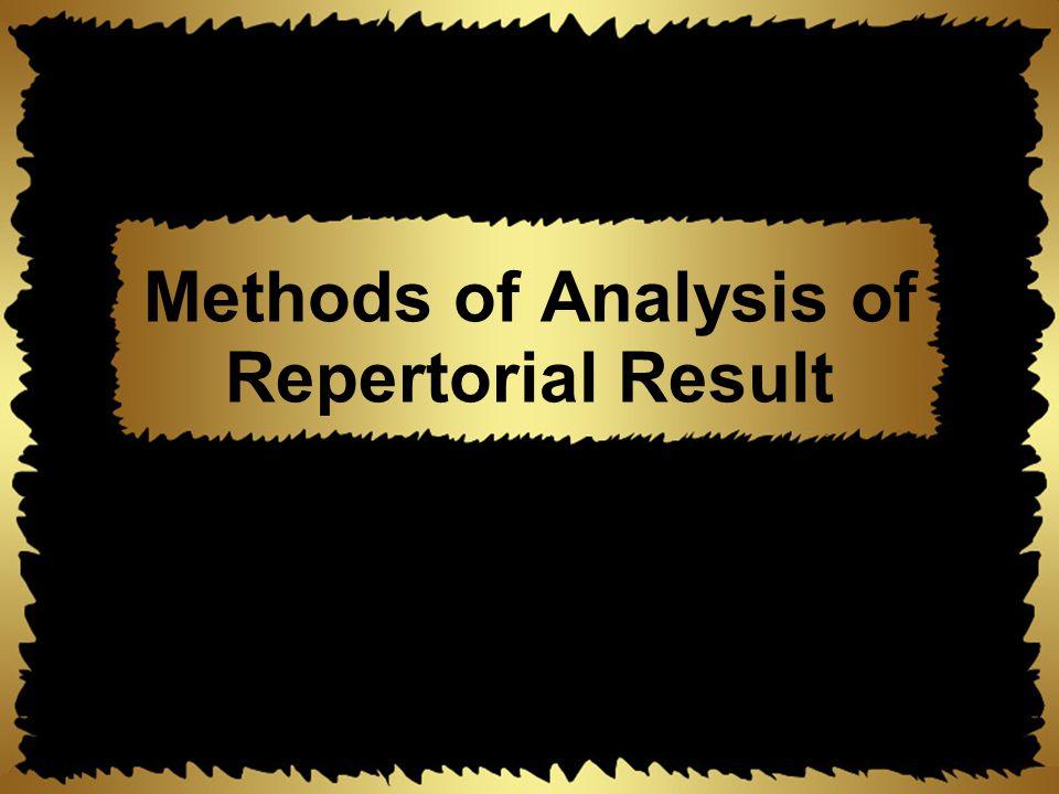 Methods of Analysis of Repertorial Result