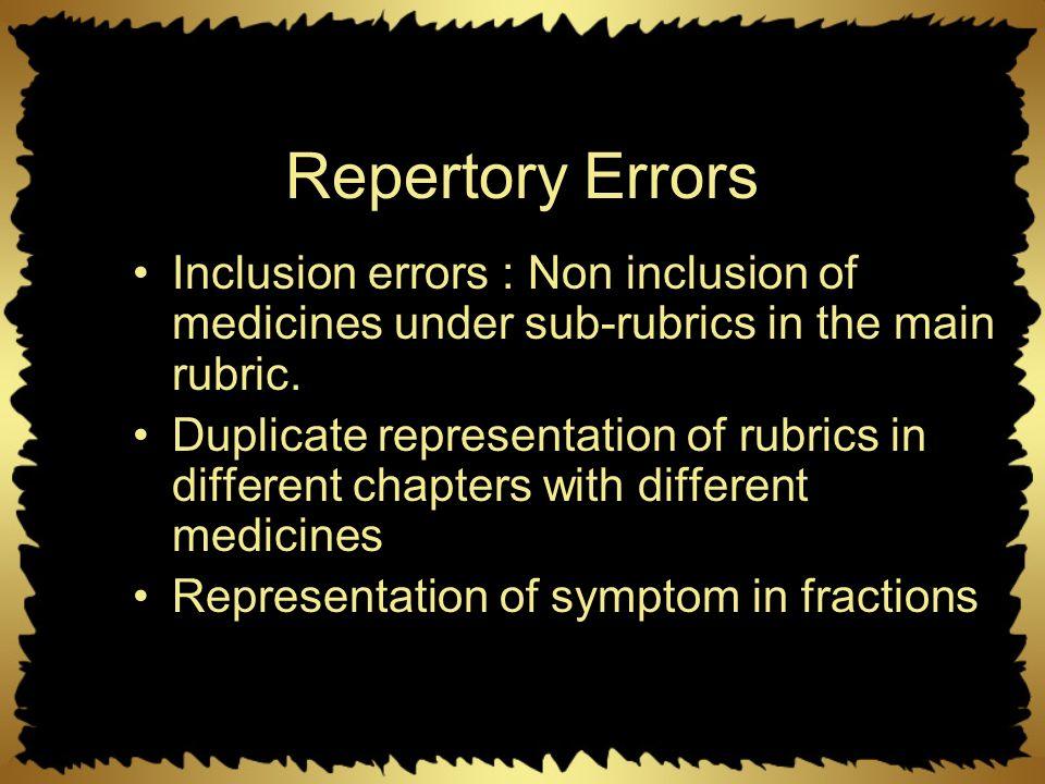 Repertory Errors Inclusion errors : Non inclusion of medicines under sub-rubrics in the main rubric. Duplicate representation of rubrics in different