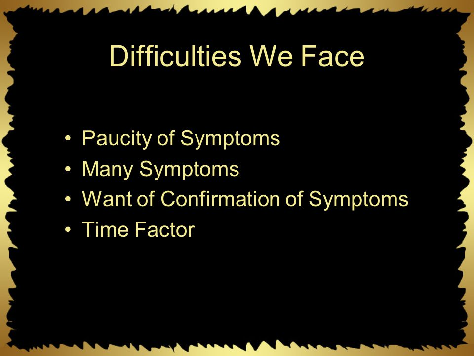 Difficulties We Face Paucity of Symptoms Many Symptoms Want of Confirmation of Symptoms Time Factor