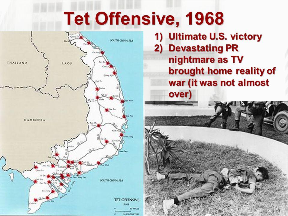 The Vietnam War 1968  My Lai Massacre- A Vietnamese town suspected of harboring enemies was brutally murdered by U.S.
