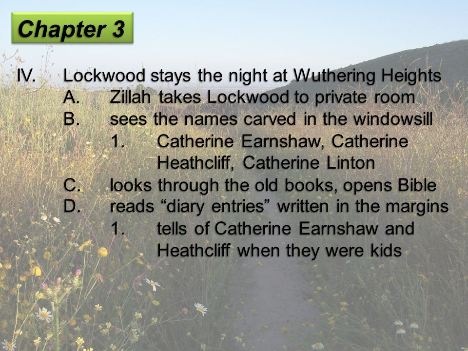 Chapter 3 IV.Lockwood stays the night at Wuthering Heights A.Zillah takes Lockwood to private room B.sees the names carved in the windowsill 1.Catheri