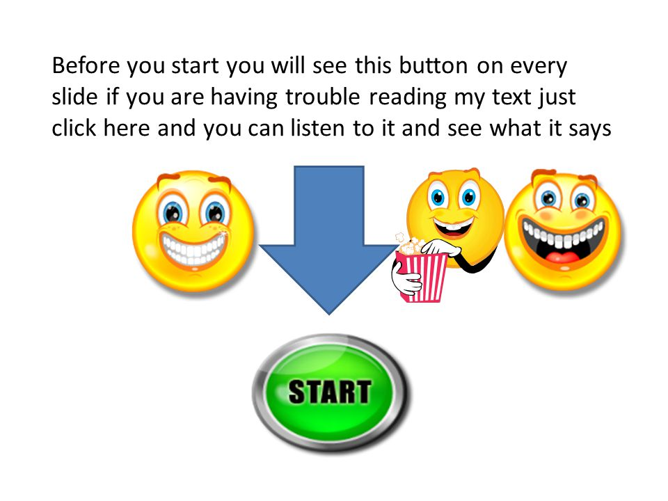 Before you start you will see this button on every slide if you are having trouble reading my text just click here and you can listen to it and see what it says