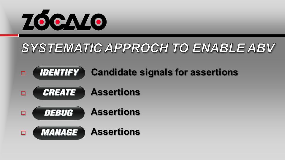 Candidate signals for assertions  Candidate signals for assertions  Assertions