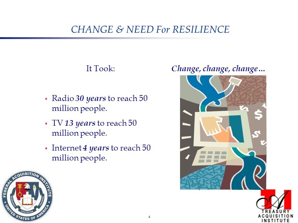 4 CHANGE & NEED For RESILIENCE It Took: Radio 30 years to reach 50 million people.