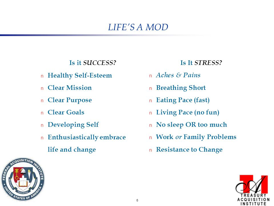 6 LIFE'S A MOD Is it SUCCESS? n Healthy Self-Esteem n Clear Mission n Clear Purpose n Clear Goals n Developing Self n Enthusiastically embrace life an