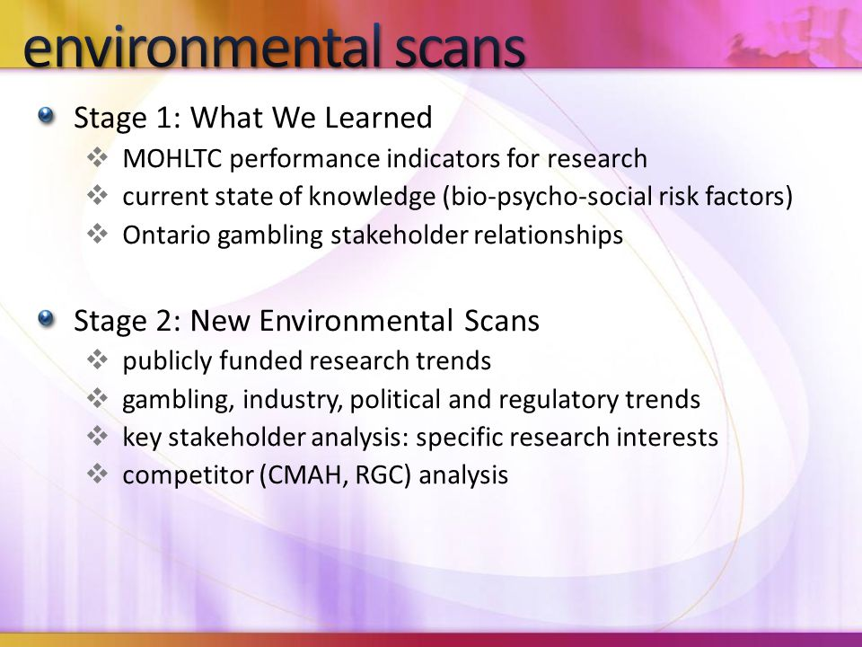 Stage 1: What We Learned  MOHLTC performance indicators for research  current state of knowledge (bio-psycho-social risk factors)  Ontario gambling stakeholder relationships Stage 2: New Environmental Scans  publicly funded research trends  gambling, industry, political and regulatory trends  key stakeholder analysis: specific research interests  competitor (CMAH, RGC) analysis