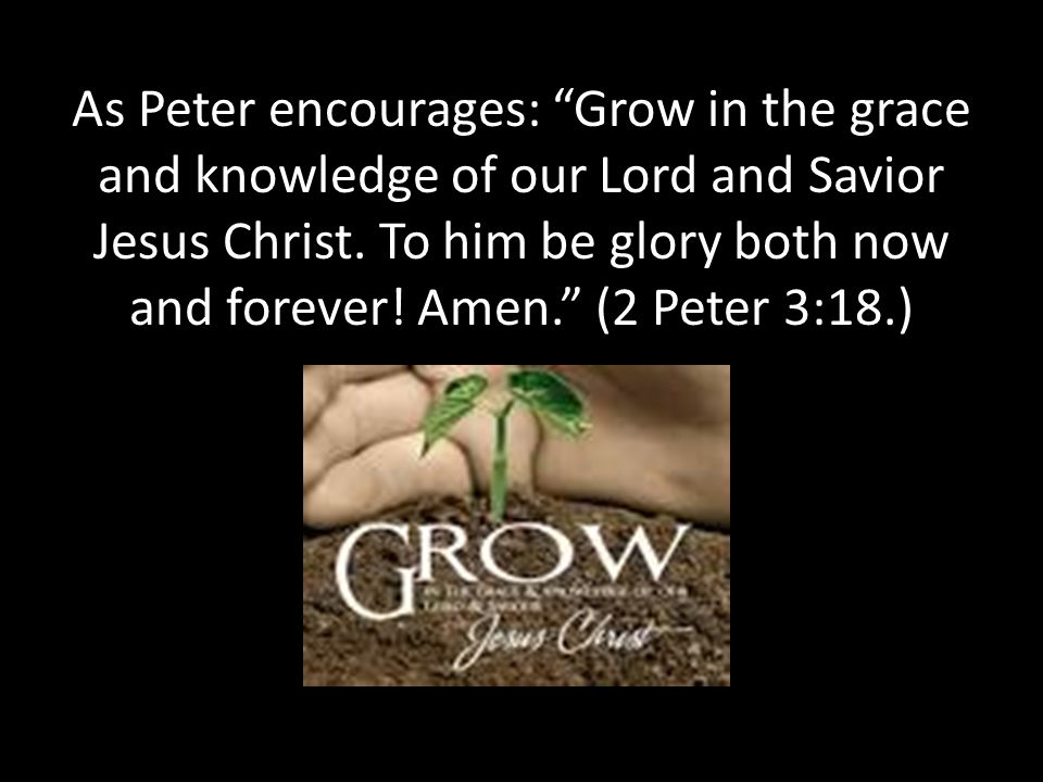 As Peter encourages: Grow in the grace and knowledge of our Lord and Savior Jesus Christ.