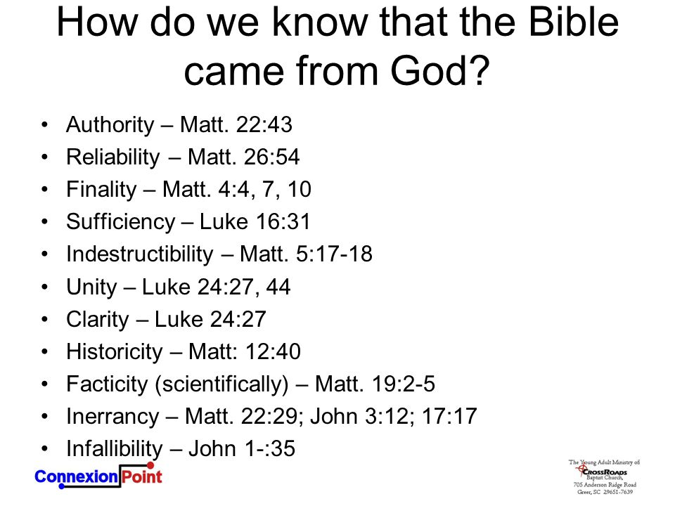 How do we know that the Bible came from God.Authority – Matt.