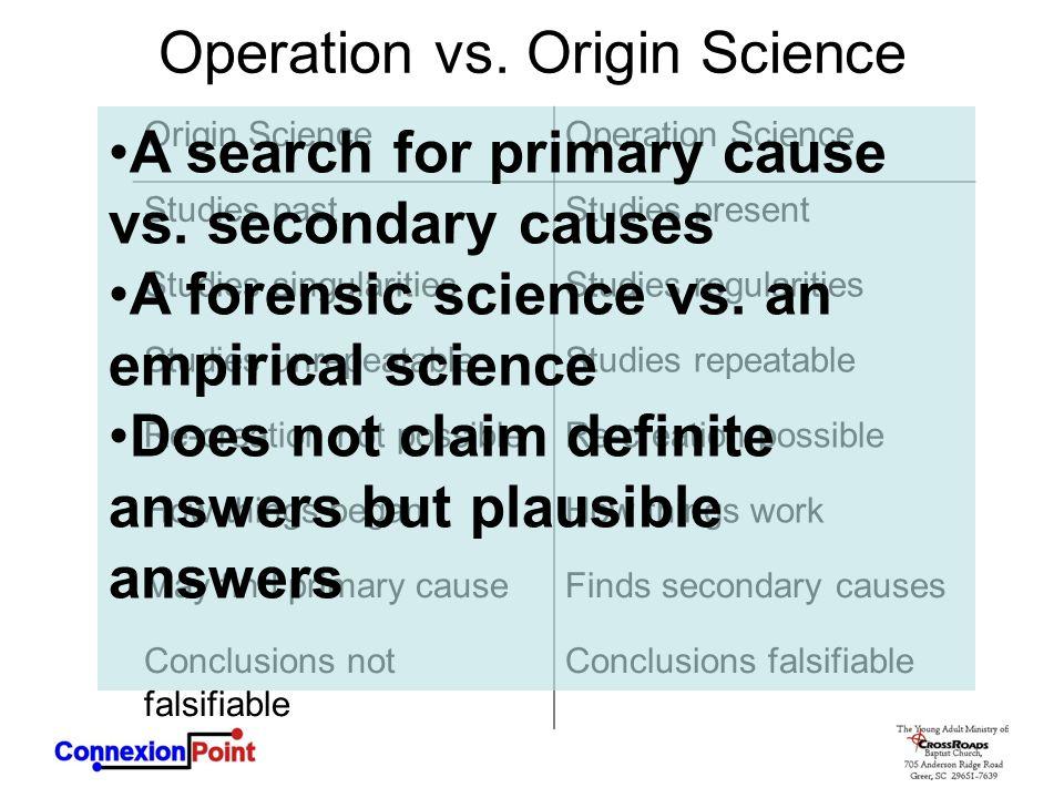 Operation vs. Origin Science Origin ScienceOperation Science Studies pastStudies present Studies singularitiesStudies regularities Studies unrepeatabl