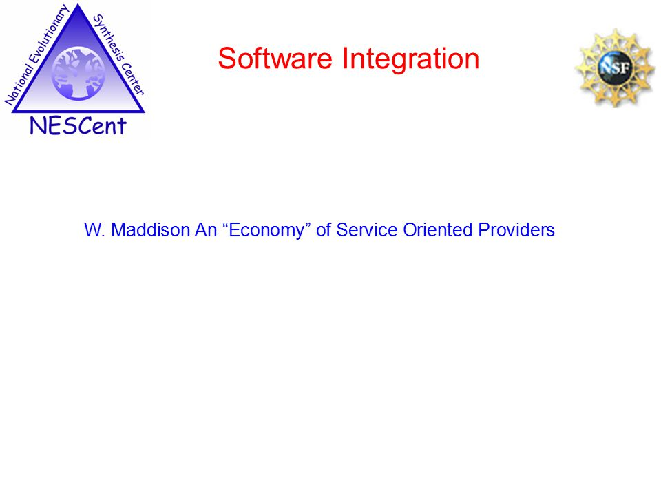 Software Integration W. Maddison An Economy of Service Oriented Providers
