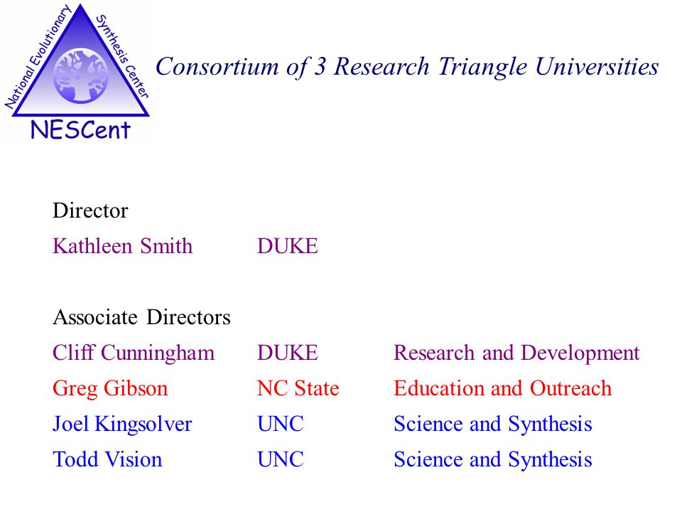 Consortium of 3 Research Triangle Universities Director Kathleen Smith DUKE Associate Directors Cliff Cunningham DUKEResearch and Development Greg GibsonNC StateEducation and Outreach Joel KingsolverUNC Science and Synthesis Todd VisionUNC Science and Synthesis