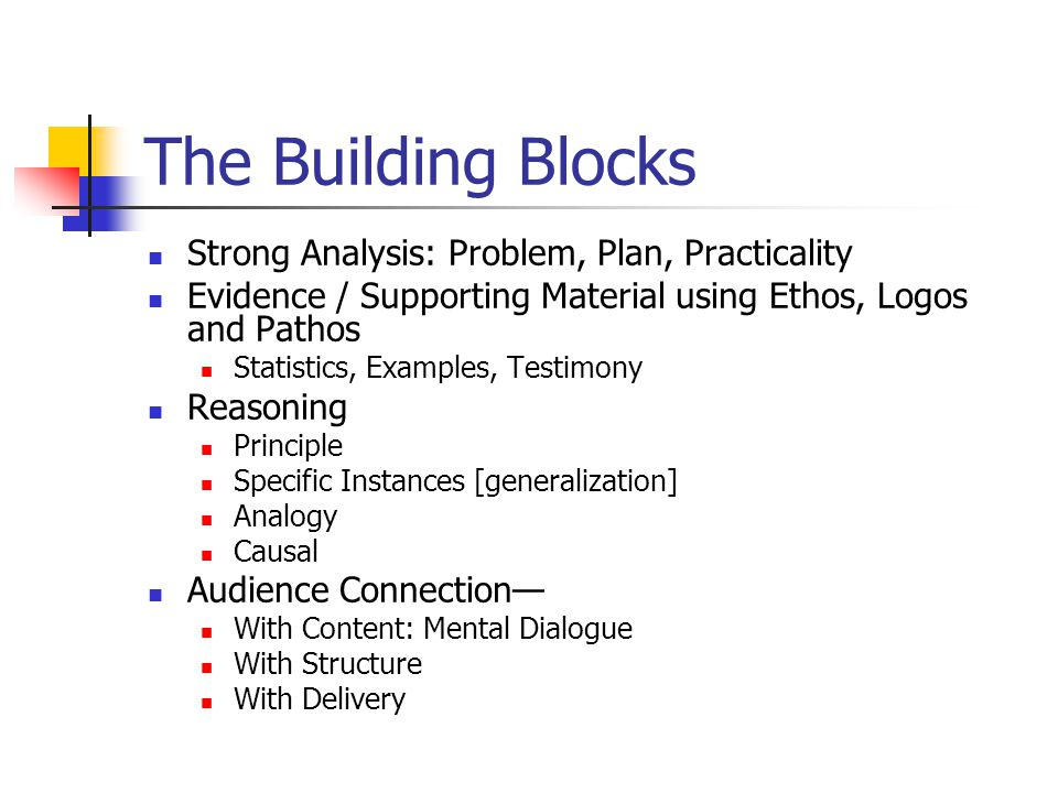 The Building Blocks Strong Analysis: Problem, Plan, Practicality Evidence / Supporting Material using Ethos, Logos and Pathos Statistics, Examples, Te