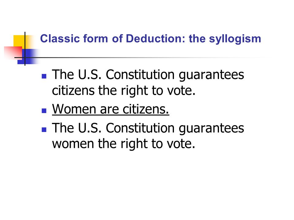Classic form of Deduction: the syllogism The U.S.