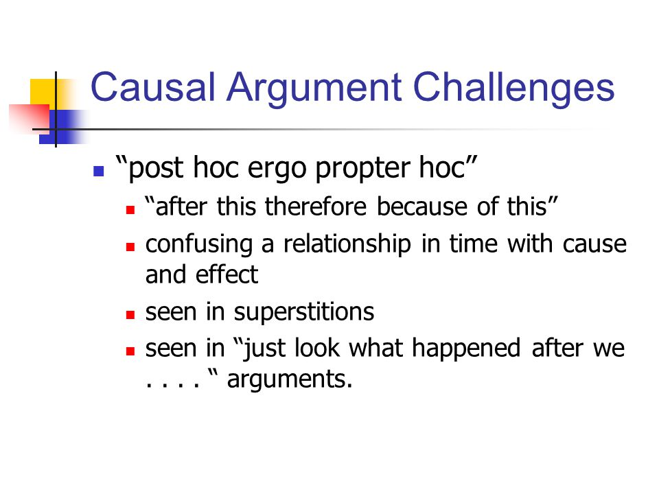 Causal Argument Challenges post hoc ergo propter hoc after this therefore because of this confusing a relationship in time with cause and effect seen in superstitions seen in just look what happened after we....