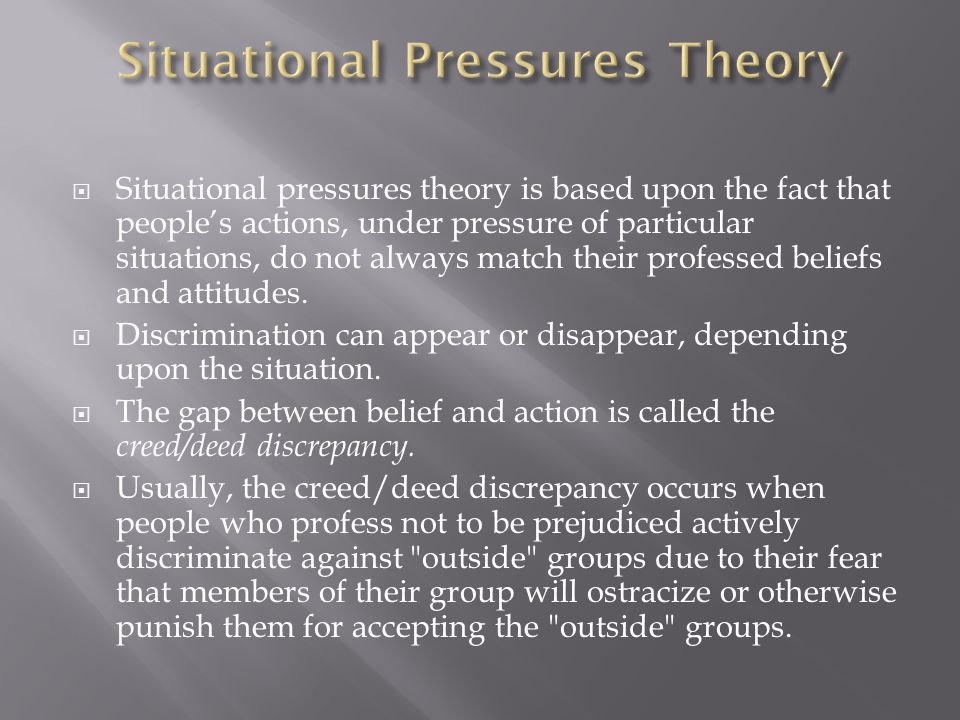  Situational pressures theory is based upon the fact that people's actions, under pressure of particular situations, do not always match their profes