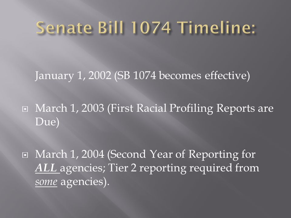 January 1, 2002 (SB 1074 becomes effective)  March 1, 2003 (First Racial Profiling Reports are Due)  March 1, 2004 (Second Year of Reporting for ALL