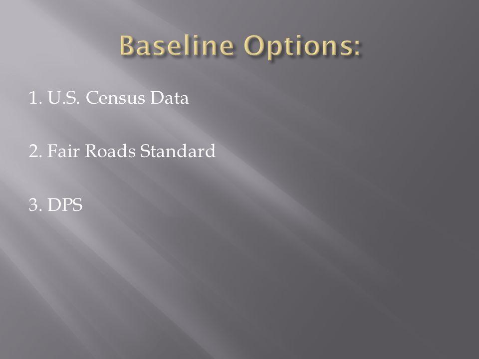 1. U.S. Census Data 2. Fair Roads Standard 3. DPS