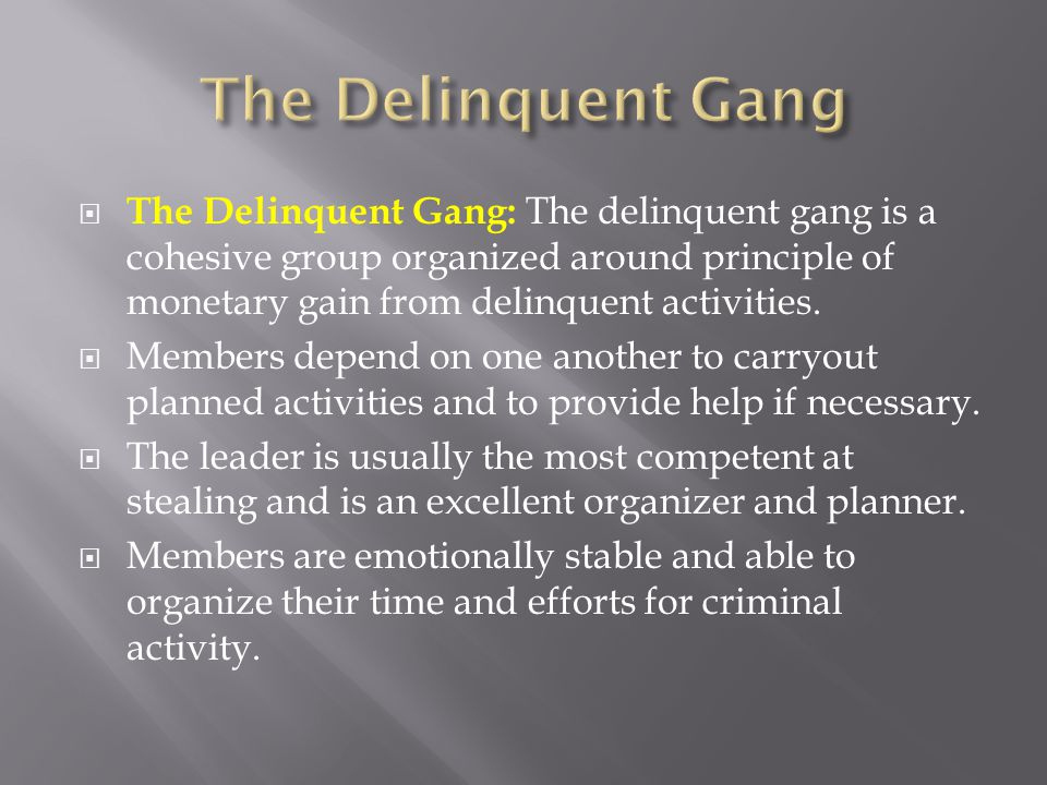  The Delinquent Gang: The delinquent gang is a cohesive group organized around principle of monetary gain from delinquent activities.  Members depen
